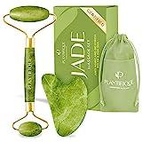 PLANTIFIQUE Jade Roller und Gua Sha - 100% Original - Anti Aging Gua Sha Jade Massage Tool - Gua Sha für Skincare - Gesichtsmassagegerät und Gua Sha Set Für Ihre Hautpflege Routine