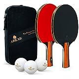 Arkad Tischtennis Set • 2 Tischtennisschläger + 3 Premium Bälle • mit Tasche