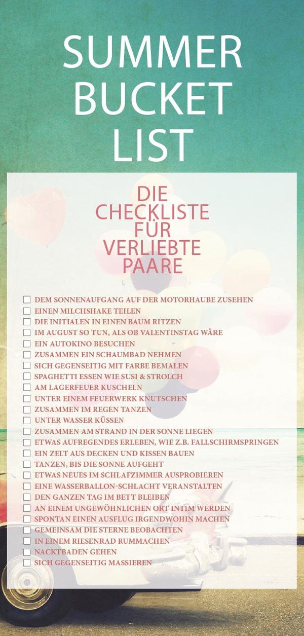 Checkliste für verliebte Paare