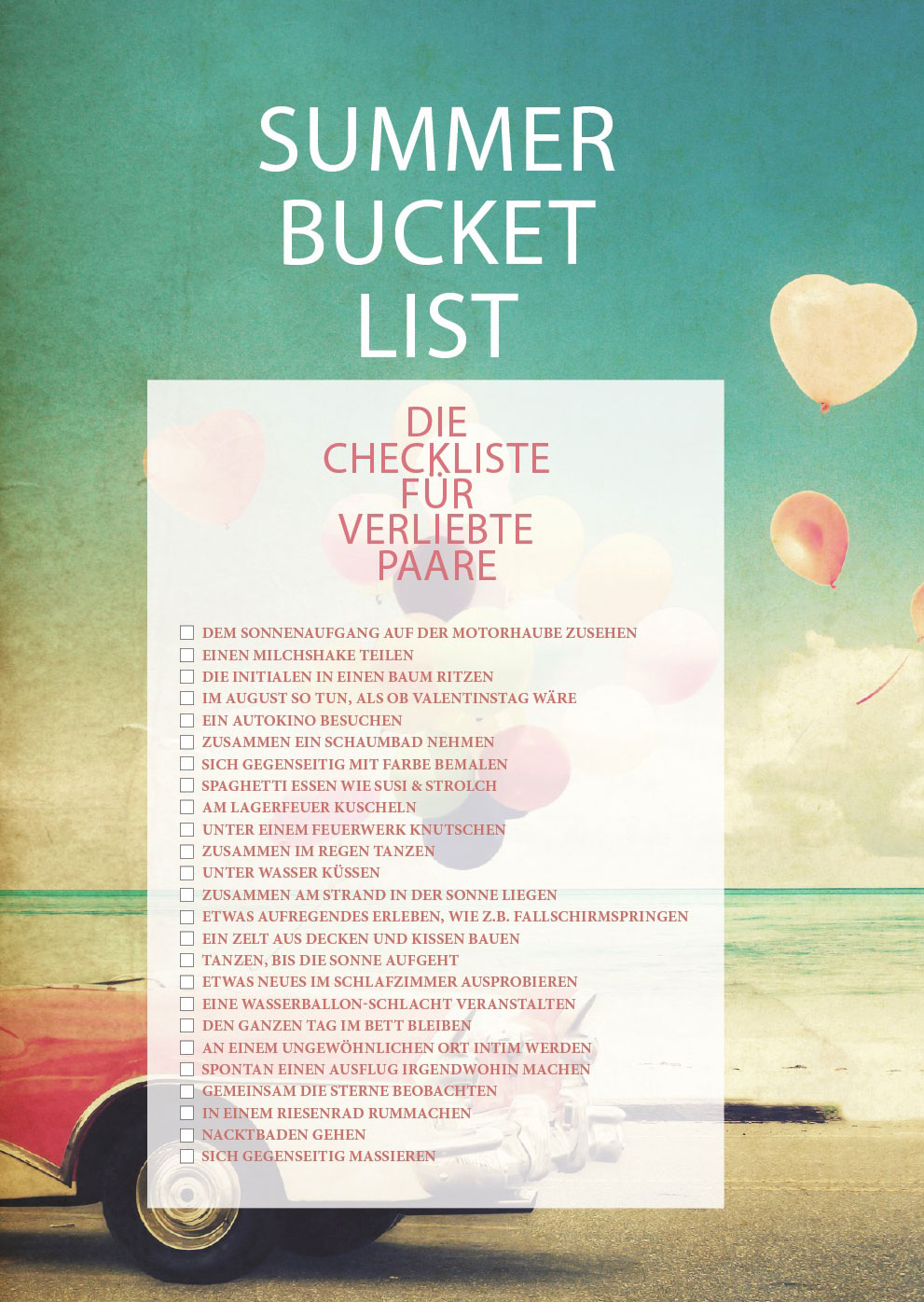 Die Sommer Bucket List Für Verliebte Ajoure De
