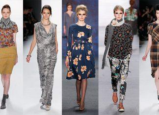 Bunte Printmuster auf der Fashion Week Berlin von Rike Feurstein, Guido Maria Kretschmer, Lena Hoschek, Marc Cain, Used Unused.