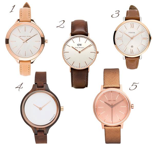 Uhren in rosé-gold und braun