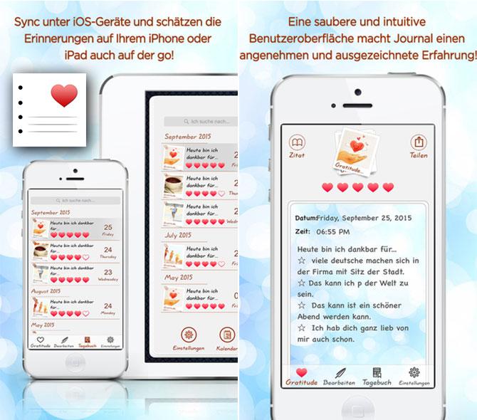 Tagebuch Dankbarkeits App