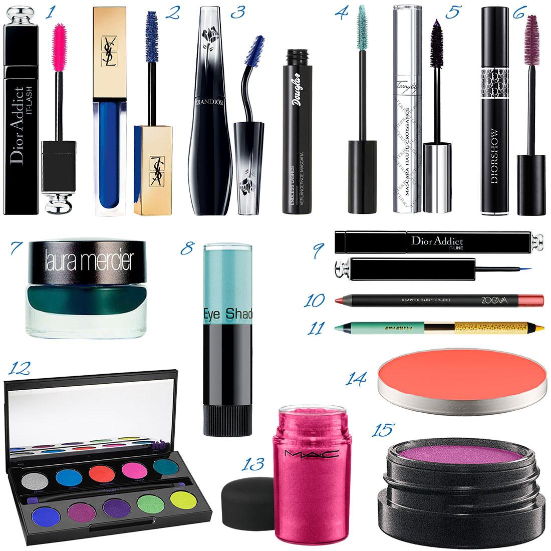 buntes Augen-Make-up Produkte