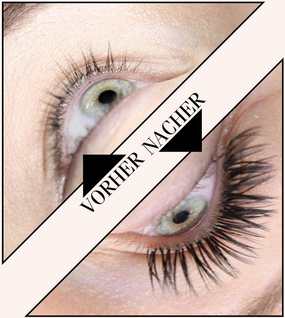 Wimpernverlängerung vorher - nachher