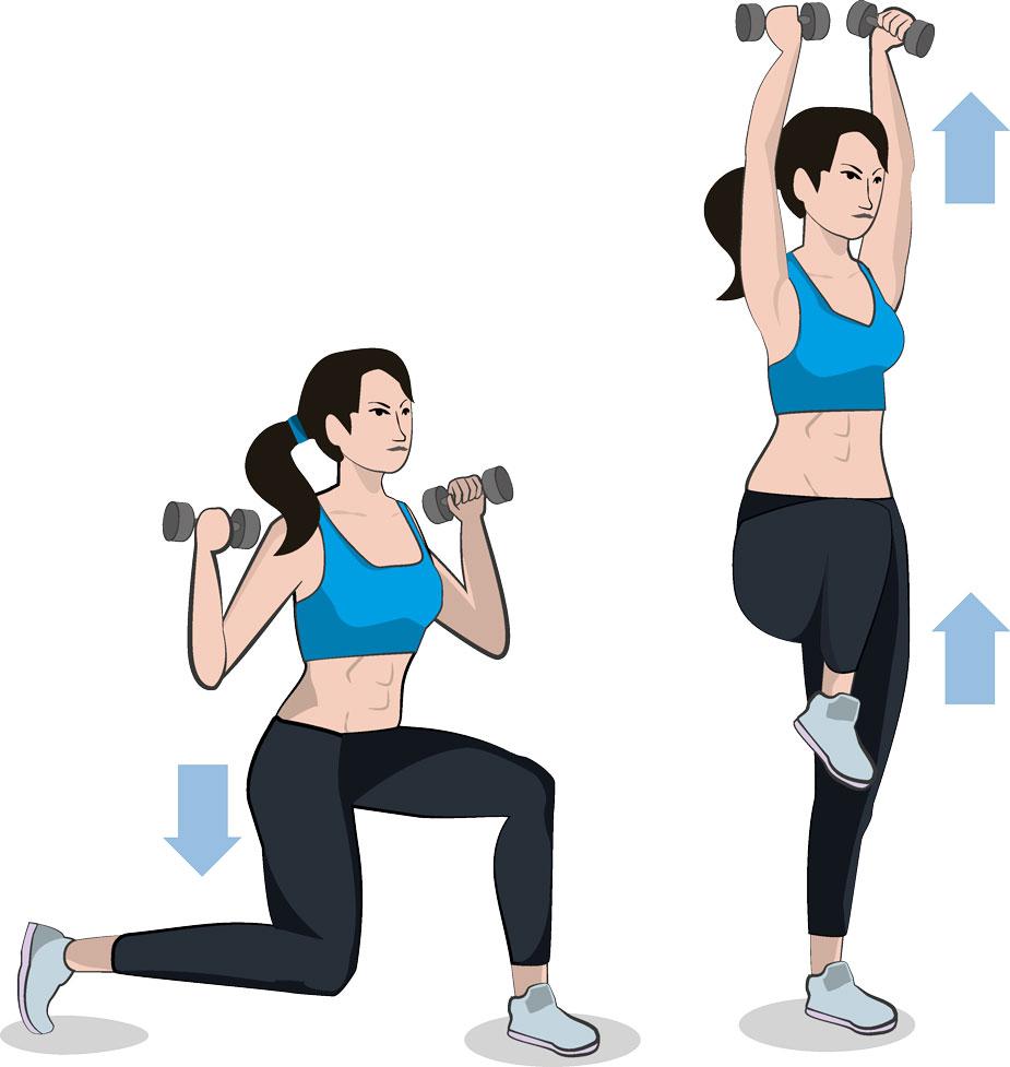 Reverse Lunge  Shoulder Press