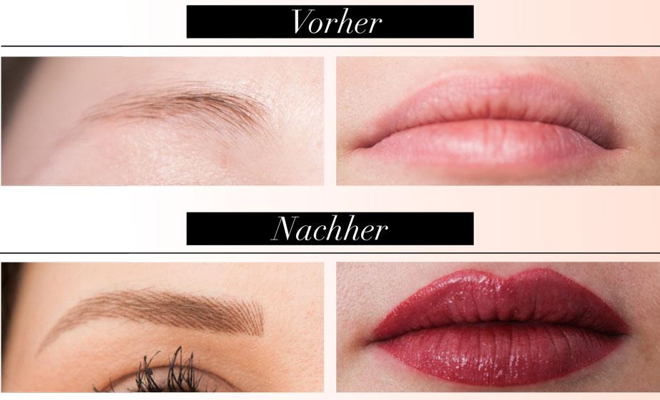 Kontur-Make-up im Vorher-Nachher-Vergleich