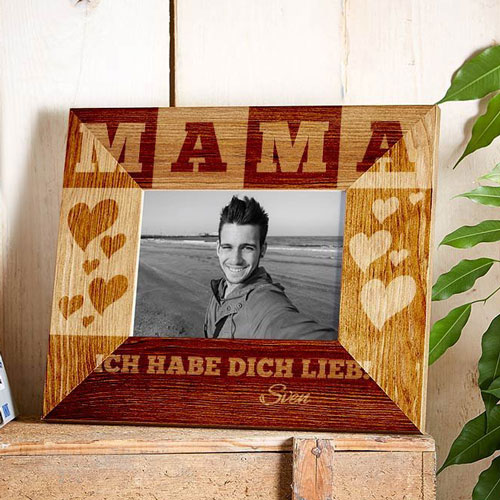 Bilderrahmen aus Holz mit Gravur für Mama