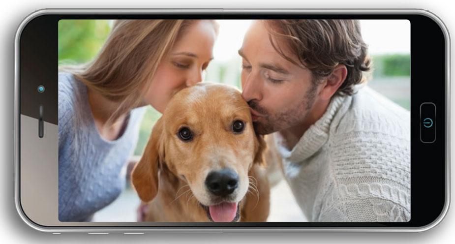 Couple Selfie mit Haustier