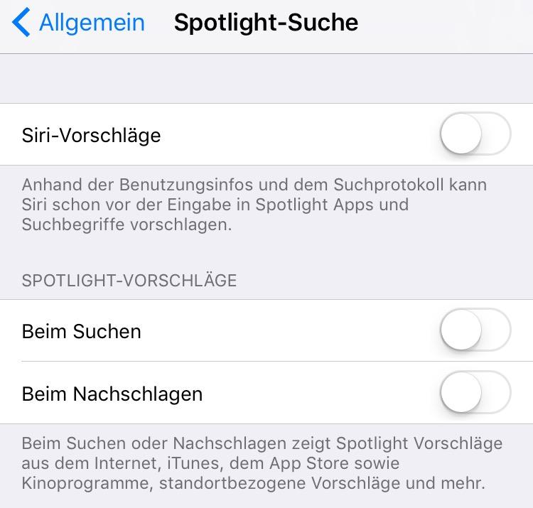 Schalte die Spotlight-Suche ab