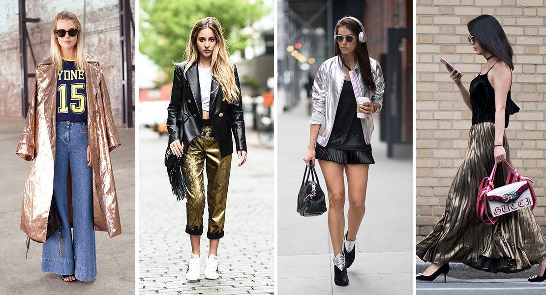 Let it shine! Die aktuellen Street Styles mit Metallic-Eyecatcher