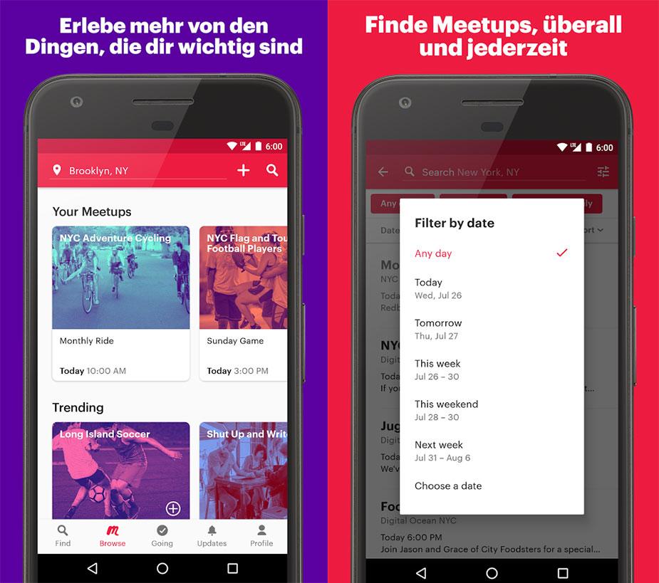 Meetup App Funktionen