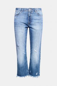 Baumwoll-Jeans mit Fransensaum