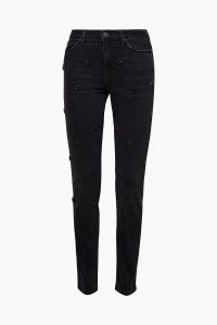 Stretch-Jeans mit floralen Facettensteinen