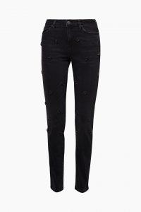 Stretch-Jeans mit floralen Facettensteinen