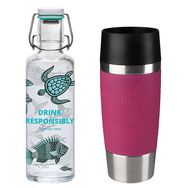 wiederverwendbare Kaffee-to-go-Becher und Trinkflaschen