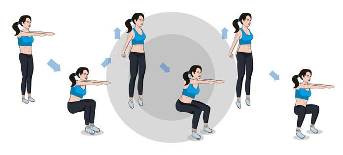 Dreifache Jump Squats