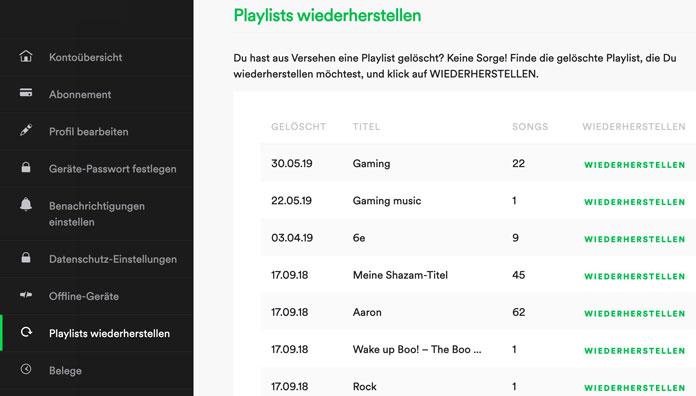 Spotify Gelöschte Playlisten wiederherstellen