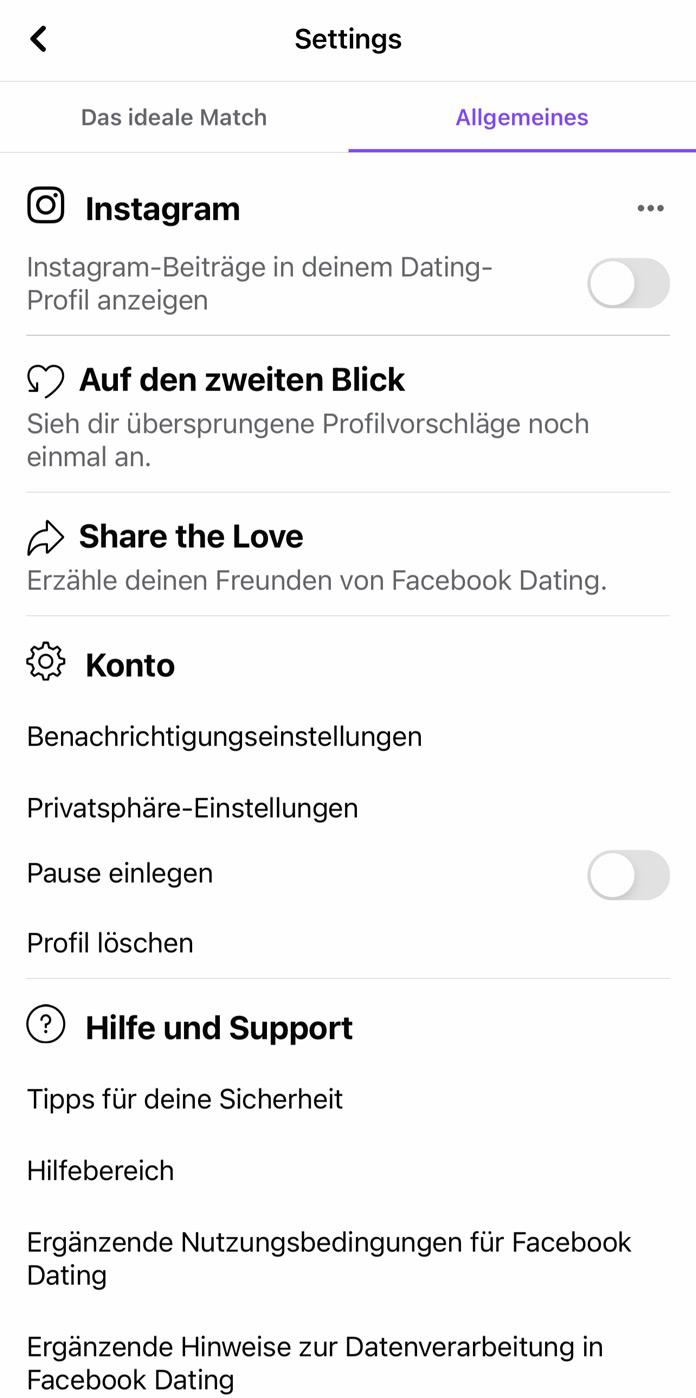 Facebook Dating Einstellungen Allgemeines