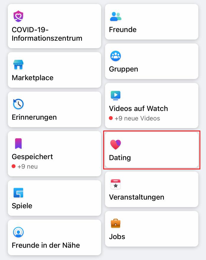 Facebook Dating Menü
