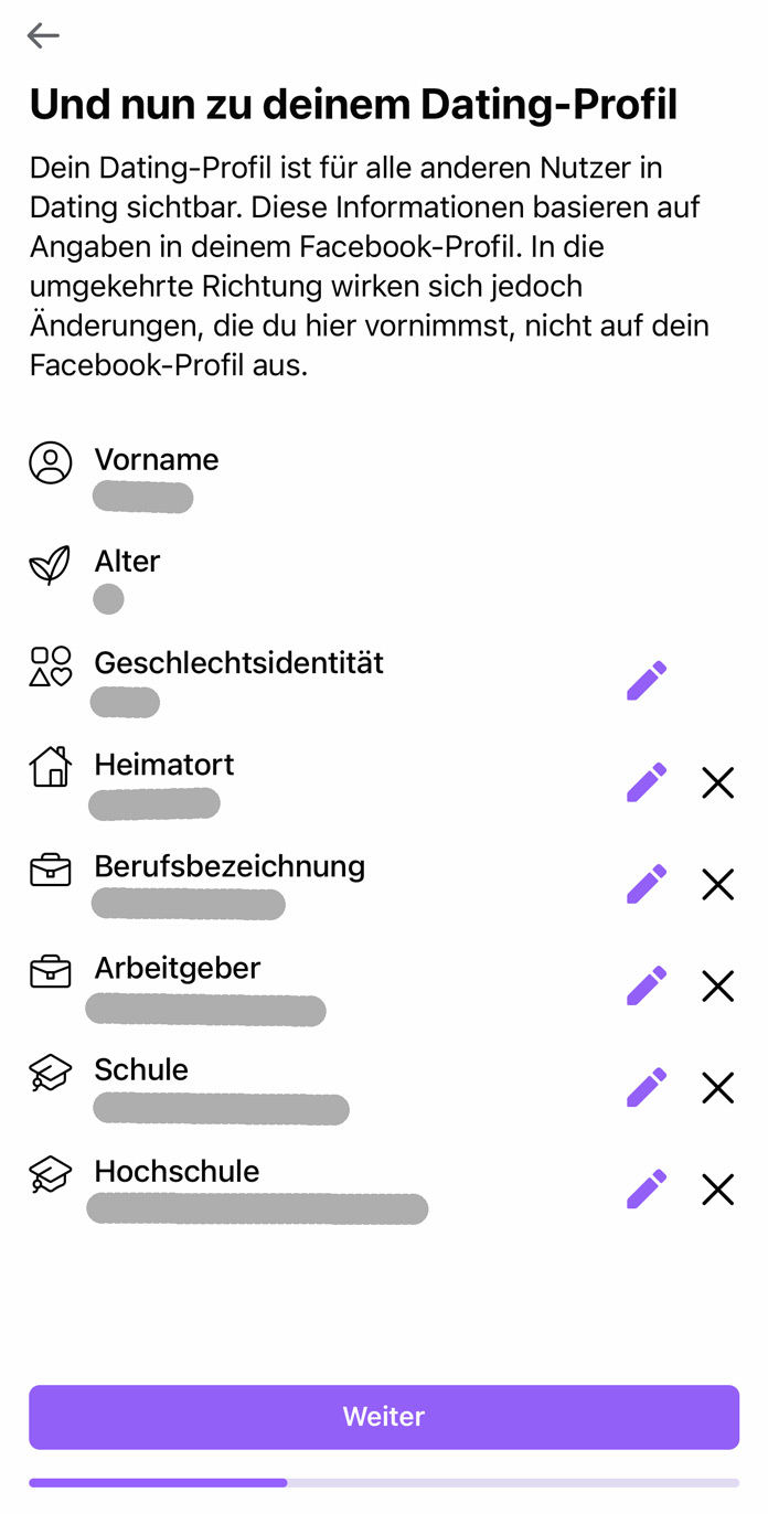 Facebook Dating Profil