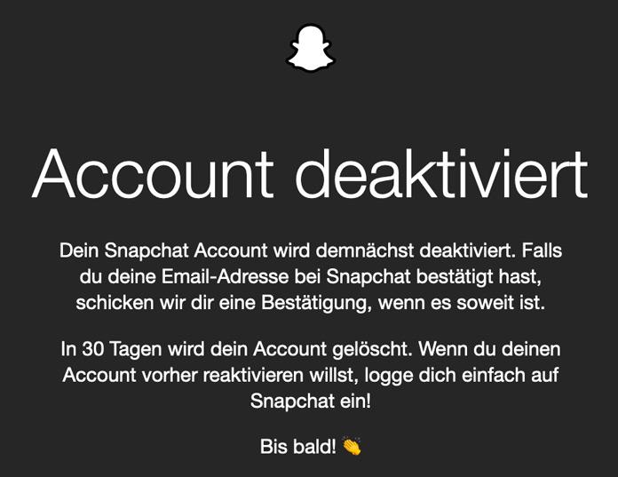 Snapchat Account deaktiviert