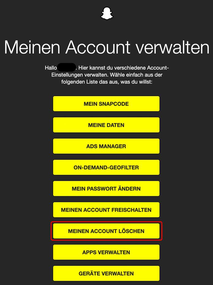 Snapchat Meinen Account löschen