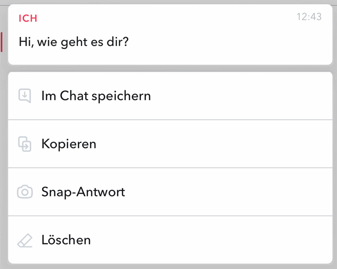 Snapchat Chat Nachricht löschen