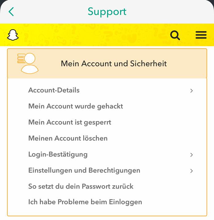 Support Mein Account und Sicherheit