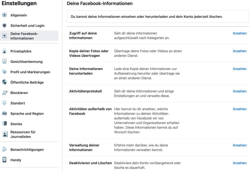 Faceboo-Einstellungen - Deine Facebook-Informationen