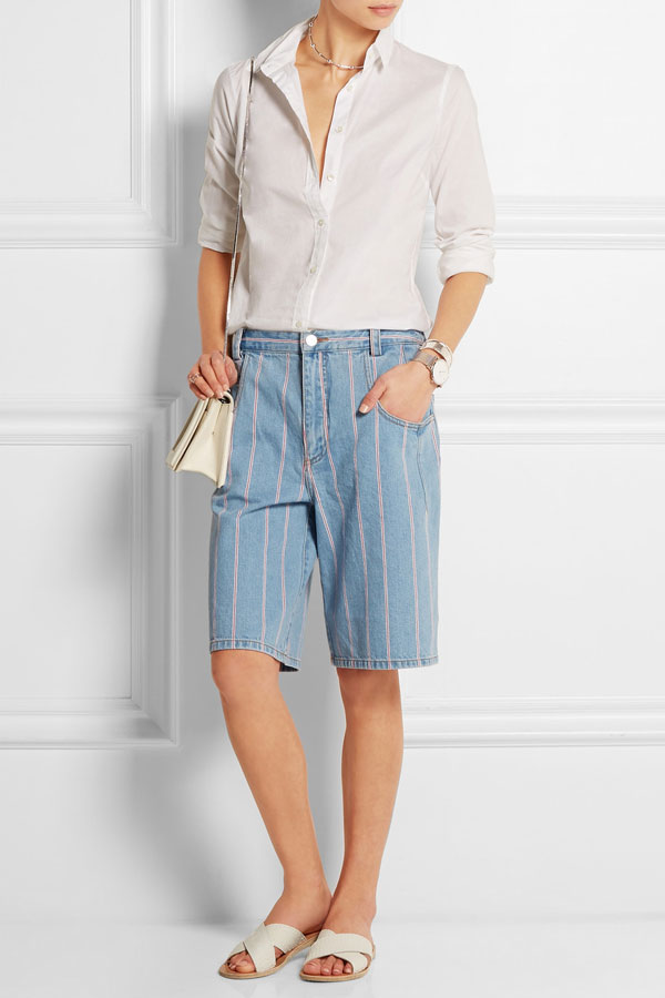 T by Alexander Wang - Gestreifte Jeans-Culottes