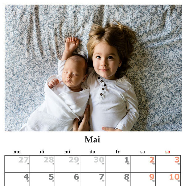 selbst gebastelter Kalender Muttertag